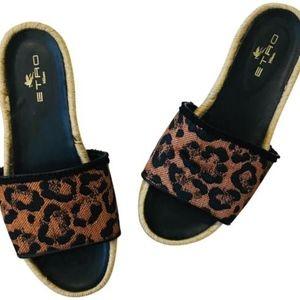 ETRO Italy Leopard Jacquard Espadrille Slides